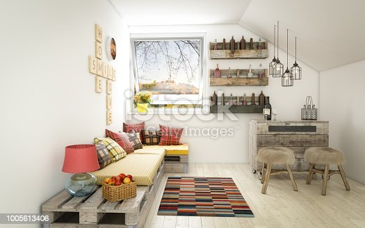 Digitally generated cozy and rustic home interior design with high quality DIY euro pallet furniture.  The scene was rendered with photorealistic shaders and lighting in Autodesk® 3ds Max 2016 with V-Ray 3.6 with some post-production added.