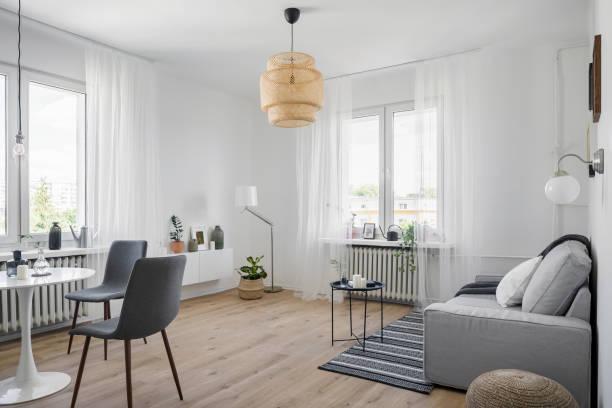 Cozy apartment with sofa stock photo