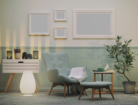 Picture of cozy armchair in the living room. Render image.