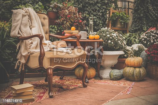 Table with wine, books and coffee and chair in autumn garden.