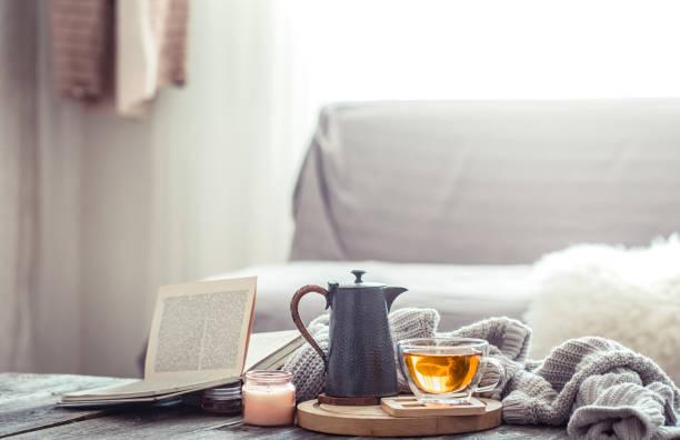 cozy autumn still life with a cup of tea - hygge imagens e fotografias de stock