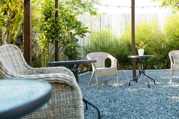 Cozy Backyard Garden Patio Setup stock photo