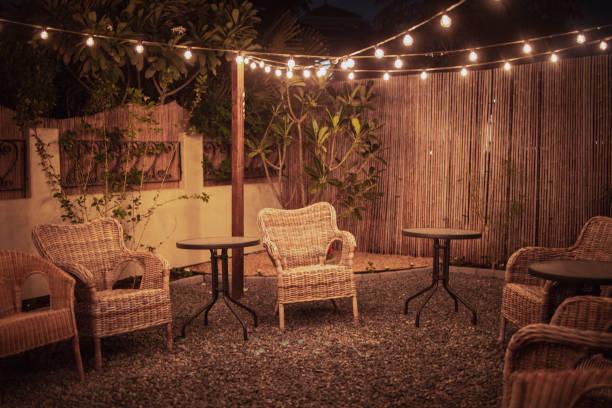 Cozy Backyard Patio Setup stock photo