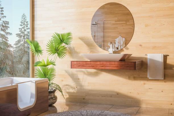 gemütliches badezimmer - badewanne holz stock-fotos und bilder