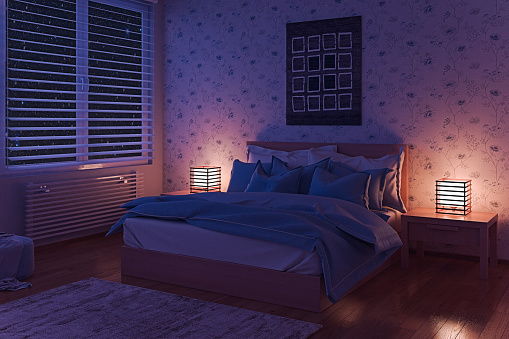 Cozy Bedroom At Night Stock Photo Download Image Now Istock