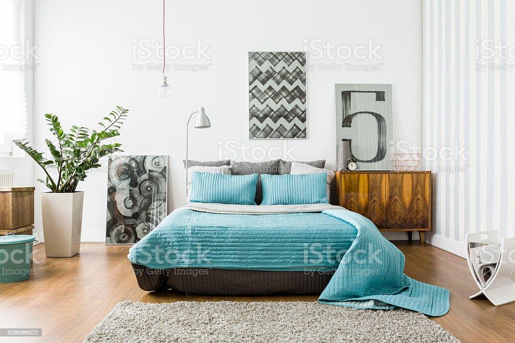 Cozy Bedroom In Modern Design Stock Photo