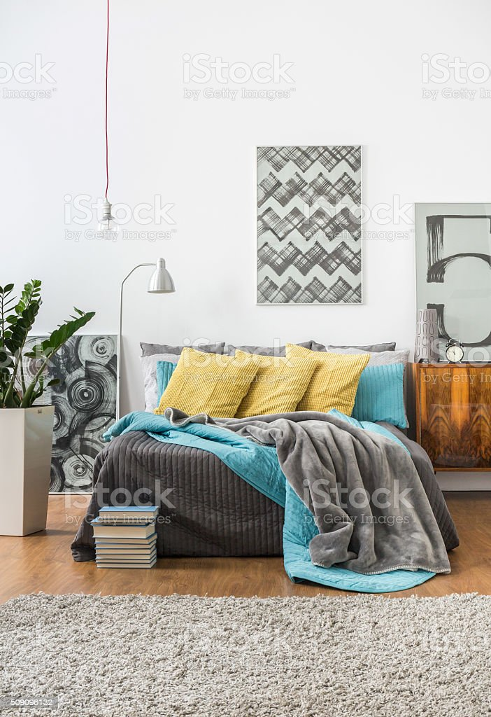 Cozy bedroom in modern style stock photo