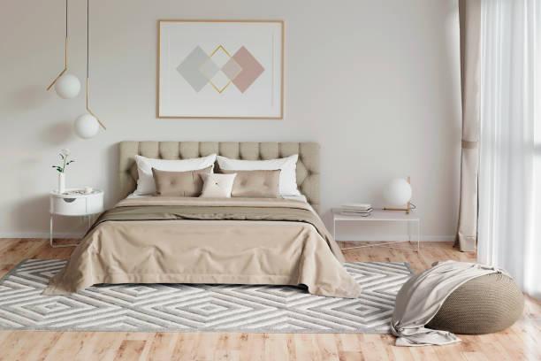 gemütliches schlafzimmer in warmen farben mit malerei, einem nachttisch, einem pouf und einem karierten. frontansicht - schlafzimmer stock-fotos und bilder