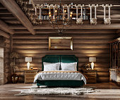 3d render of winter cottage bedroom. Elegant interior of cozy bedroom inside wooden cottage.