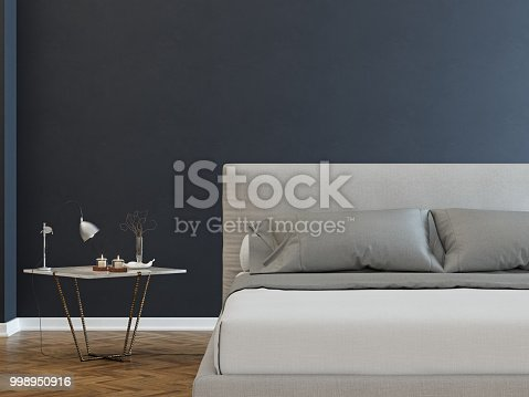 istock Cozy bedroom interior with night table 998950916