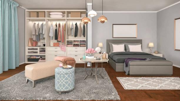 gemütliche schlafzimmer - kleiderschrank ohne türen stock-fotos und bilder