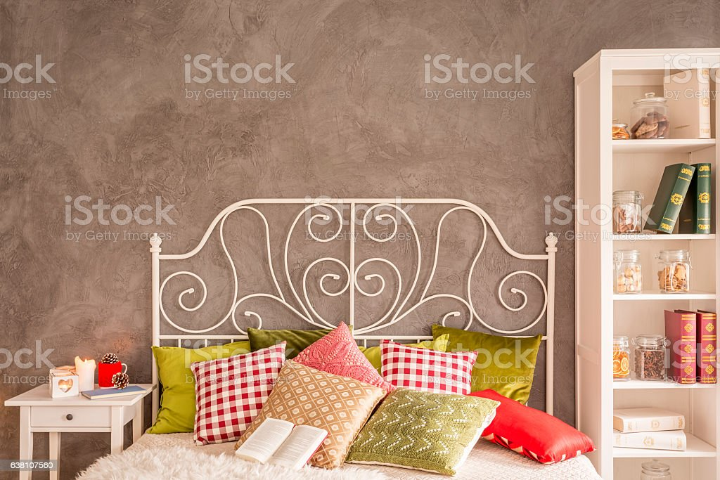 Cozy bedroom with bed stock photo