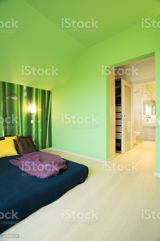 Cozy Bedroom With Green Walls Stock Photo - Download Image ...