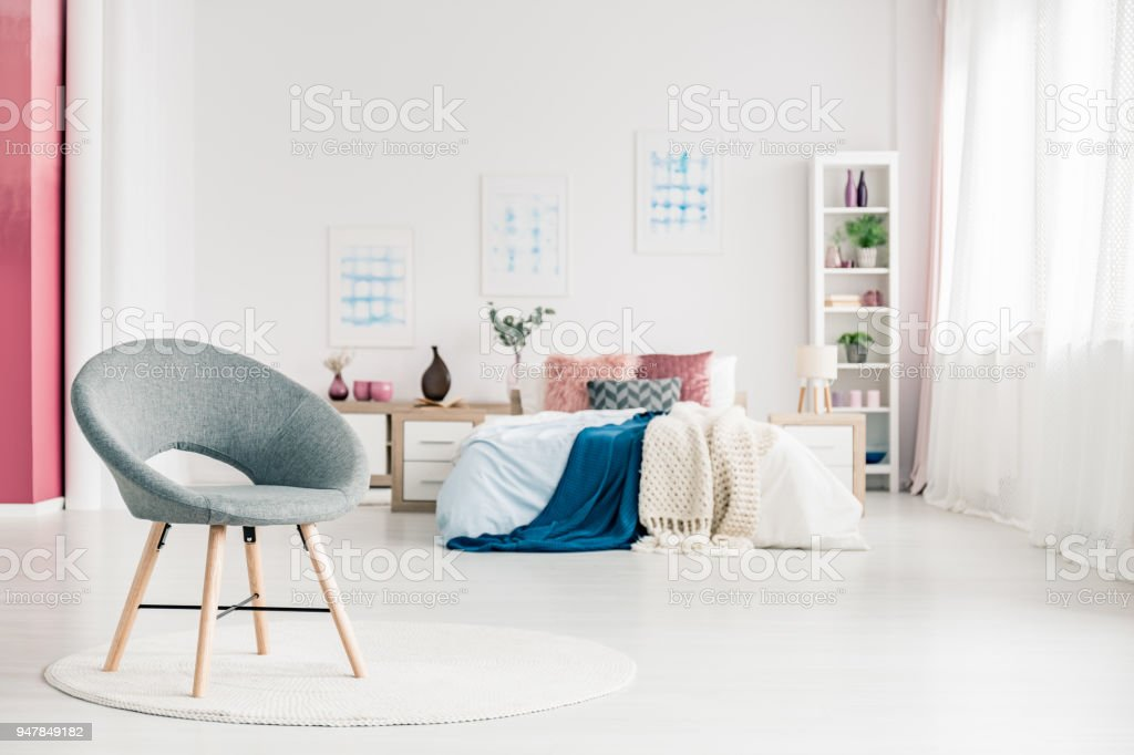Cozy Bedroom With Grey Chair Stock Photo Download Image Now Istock