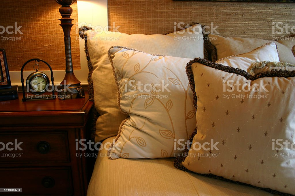 Cozy Bedside Pillows royalty-free stock photo