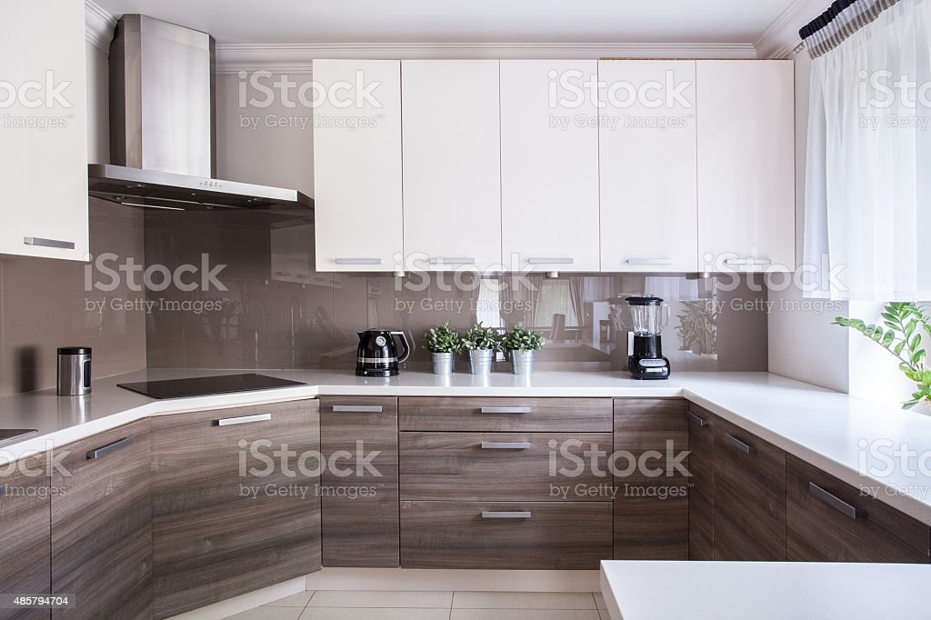 Cozy beige kitchen stock photo