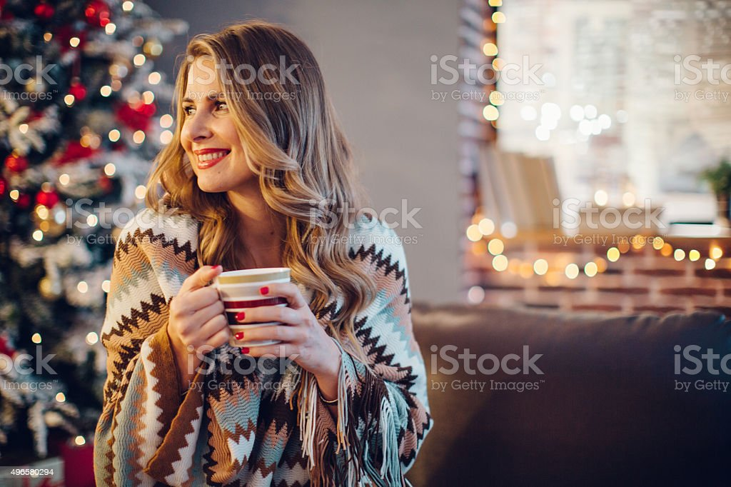 Cozy Christmas at home. stock photo