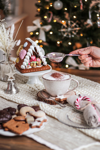 Cozy Christmas Hot Chocolate With Cookies And Christmas Tree Stock Photo - Download Image Now