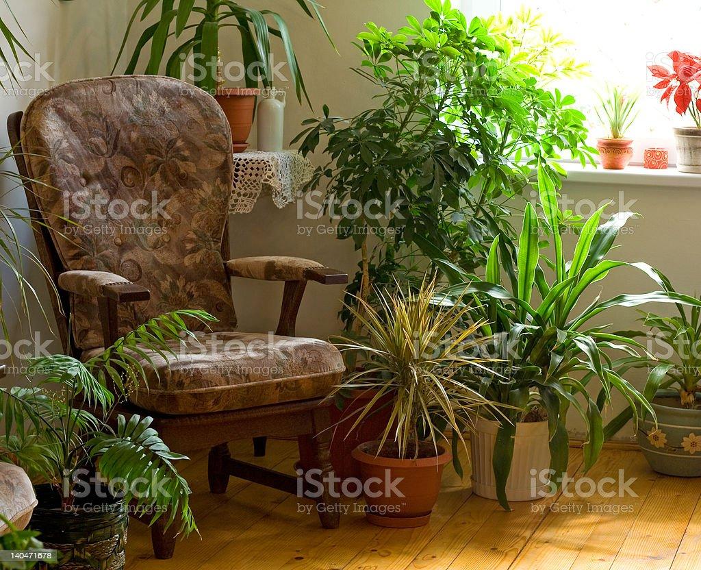 Cozy corner at home stock photo