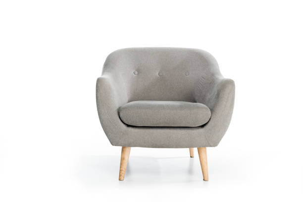 cozy empty modern grey armchair on white cozy empty modern grey armchair on white armchair stock pictures, royalty-free photos & images