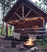 Cozy evenings at the cabin in the woods