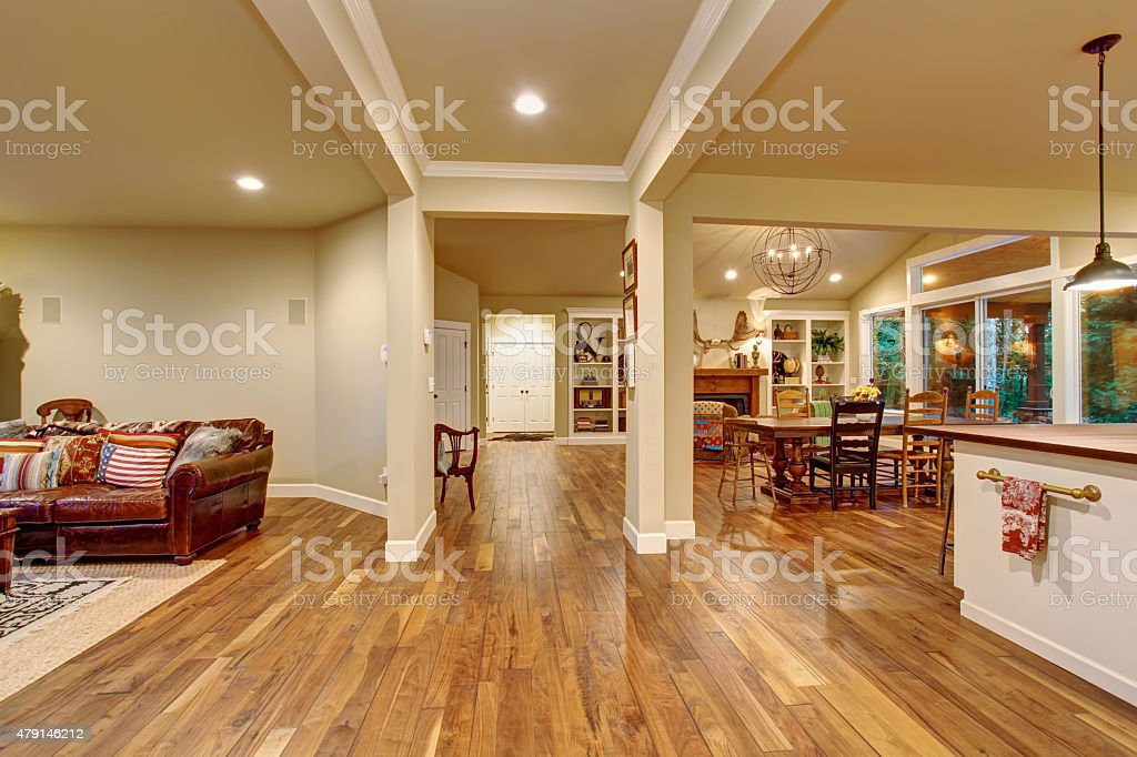 Cozy family dinning room, and ktchen. stock photo