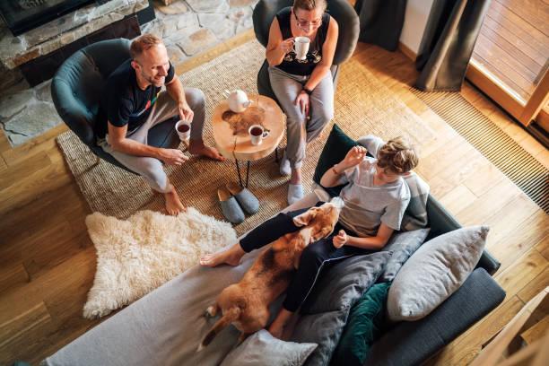 Acogedor tiempo de té familiar. Padre, madre e hijo en la sala de estar. Chico acostado en cómodo sofá y acariciando a su perro beagle y sonriendo. Imagen de concepto de momentos familiares pacíficos. - foto de stock