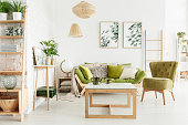 Cozy living room interior with green, suede armchair, wooden sofa with cushions and decorations on a wooden ladder