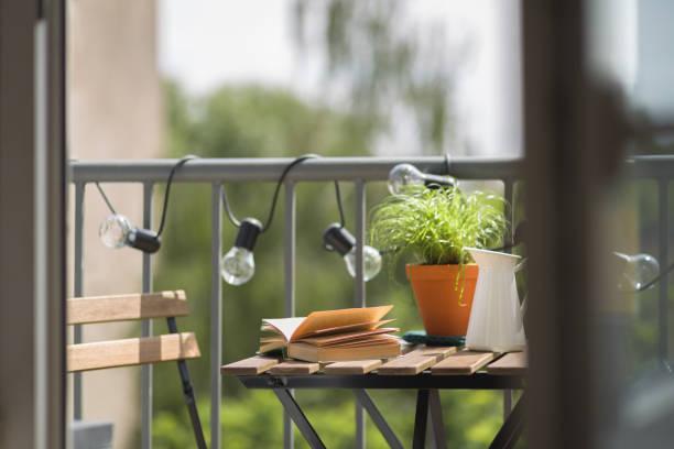 Cozy home balcony stock photo