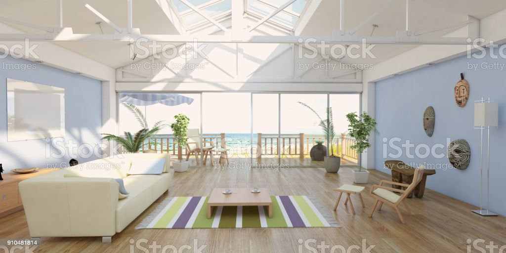 Cozy Home Interior At Seashore With Sea View stock photo
