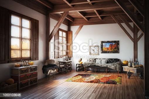 Digitally generated warm, rustic and cozy home interior design with high quality models of stylish furniture and home props.  The scene was rendered with photorealistic shaders and lighting in Autodesk® 3ds Max 2016 with V-Ray 3.6 with some post-production added.