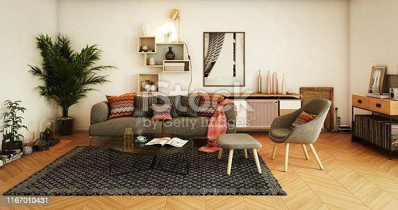 Digitally generated warm and cozy affordable Scandinavian style home interior (living room) design.  The scene was rendered with photorealistic shaders and lighting in Autodesk® 3ds Max 2016 with V-Ray 3.6 with some post-production added.