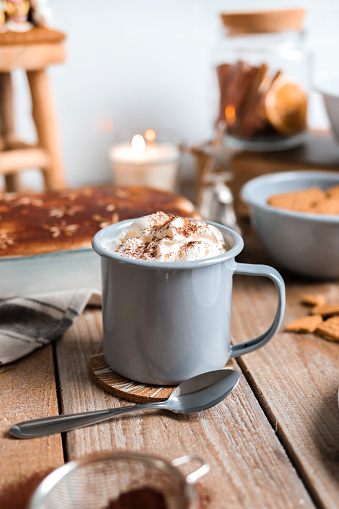 Cozy Hot Chocolate with Gingerbread and Cocoa powder in rustic kitchen