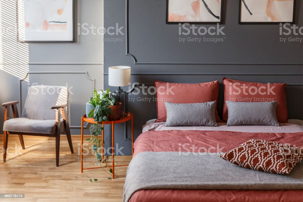 Cozy hotel room interior with a double bed with pillows next to a bedside table, plant and armchair zbiór zdjęć royalty-free