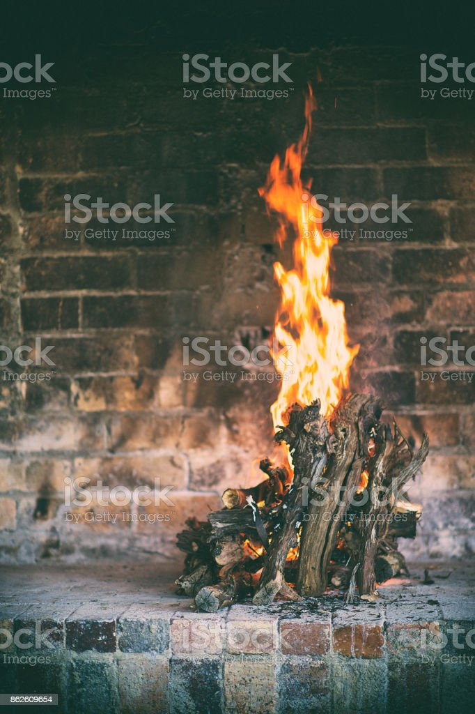 Cozy Indoor Log Fire stock photo