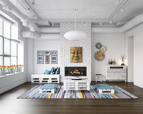 Cozy Industrial Loft Interior Scene