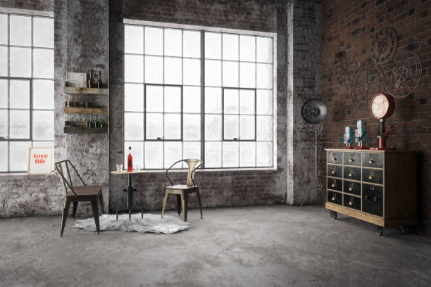 cozy industrial style interior - loft apartment stock pictures, royalty-free photos & images