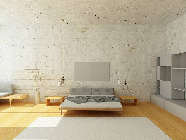gemütliche einrichtung, schlafzimmer im skandinavischen stil - rustikale mode stock-fotos und bilder