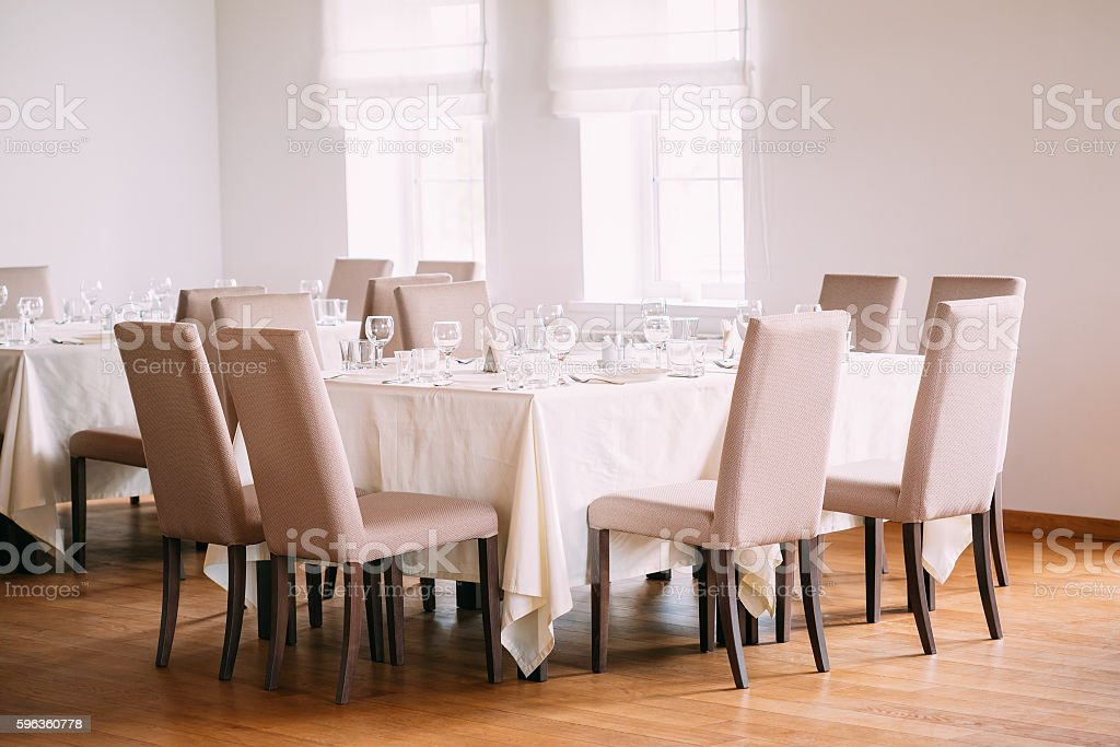 Cozy Interior Of Summer Cafe - Sheltered Tables royalty-free stock photo