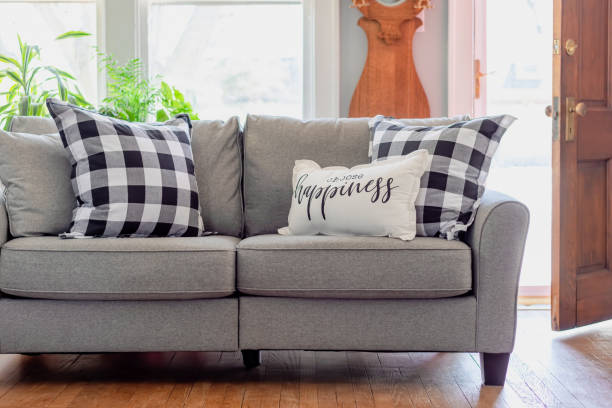 Cozy inviting living room decor in natural sunlight Cozy home interior with pillow on the couch that says choose happiness temptation stock pictures, royalty-free photos & images