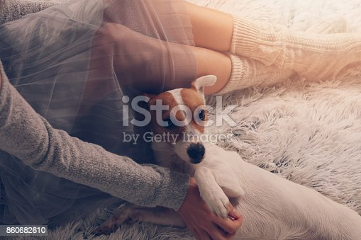 618750646 istock photo Cozy lazy day at home. Woman relaxing at home, playing with dog, jack Russel terrie Relaxing, comfy lifestyle. 860682610