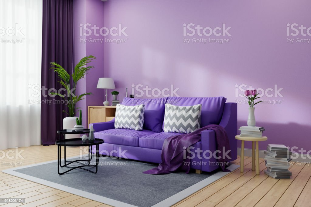 Cozy Living Room Interior Decorated,Ultraviolet Home Decor Concept ,purple  Sofa And Black Coofee