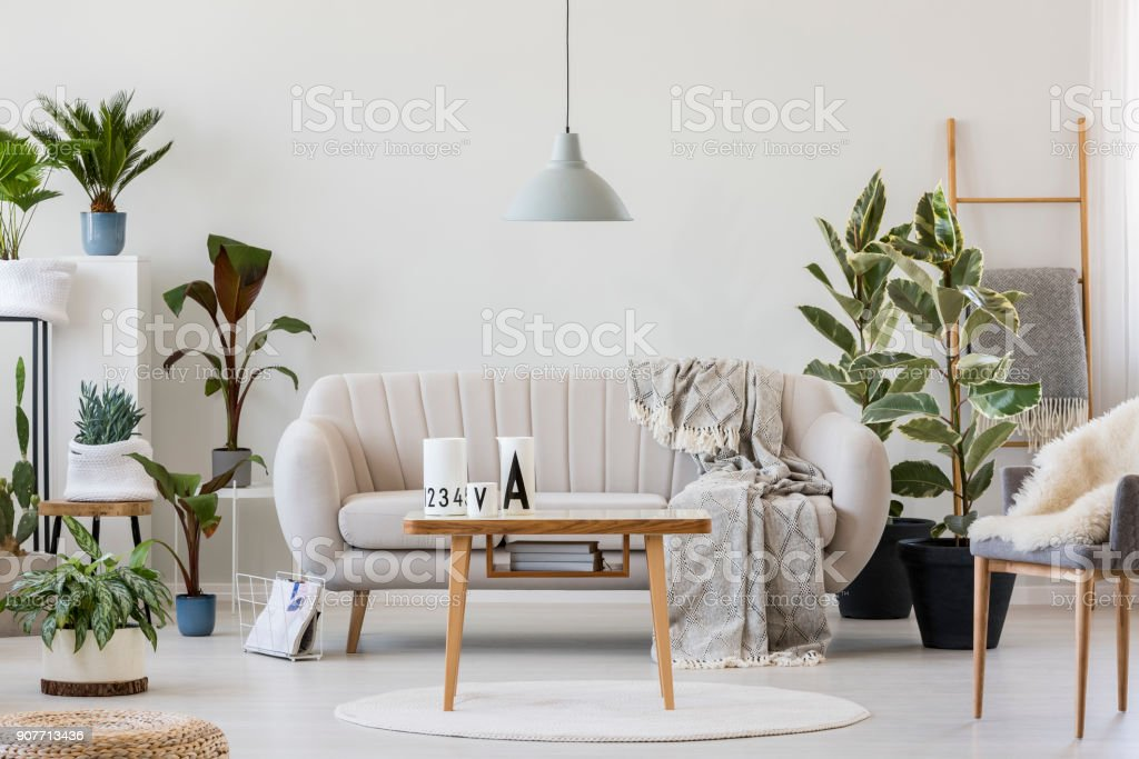 Cozy living room interior stock photo