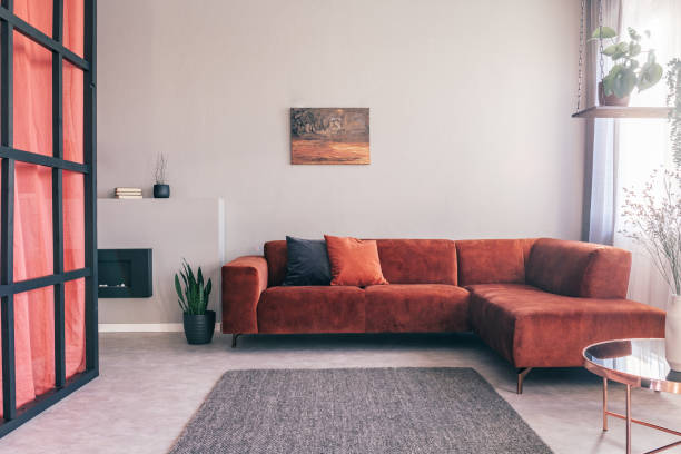 Cozy living room interior with corner sofa with pillows and painting on the wall – zdjęcie
