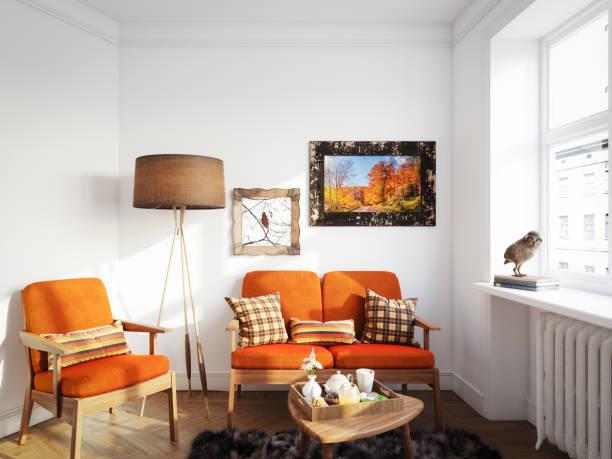 gemütliches wohnzimmer - heizraum stock-fotos und bilder