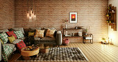 Digitally generated warm and cozy living room interior design.  The scene was rendered with photorealistic shaders and lighting in Autodesk® 3ds Max 2016 with V-Ray 3.6 with some post-production added.