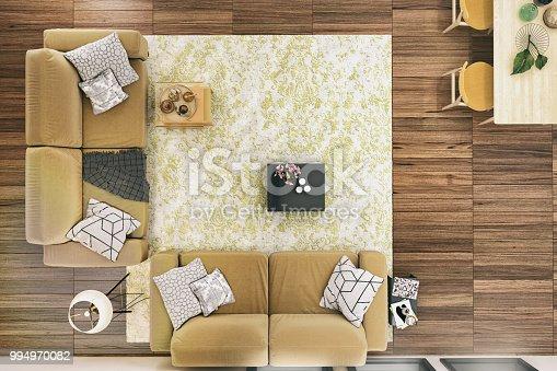 Picture of modern living room. Render image.