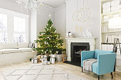 istock Cozy Living Room With Fireplace And Christmas Decoration 1286311315