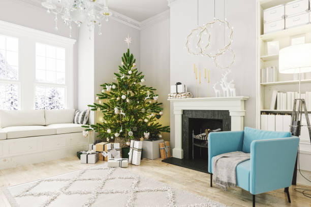Cozy Living Room With Fireplace And Christmas Decoration stock photo