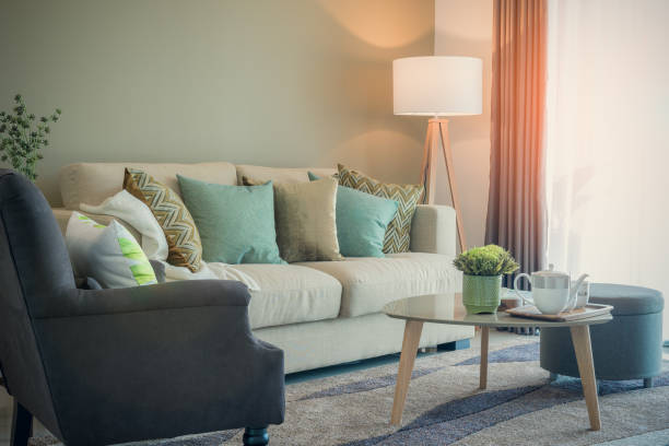 cozy living room with sety of tea cup on table stock photo